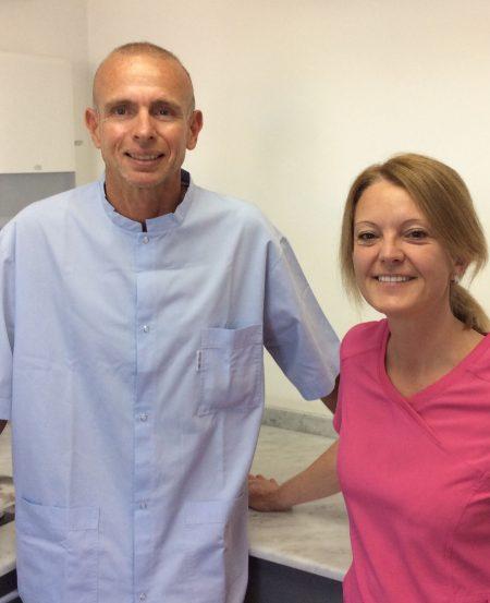 Dr Michel P. dentiste à Beausoleil et Christine assistante dentaire diplômée